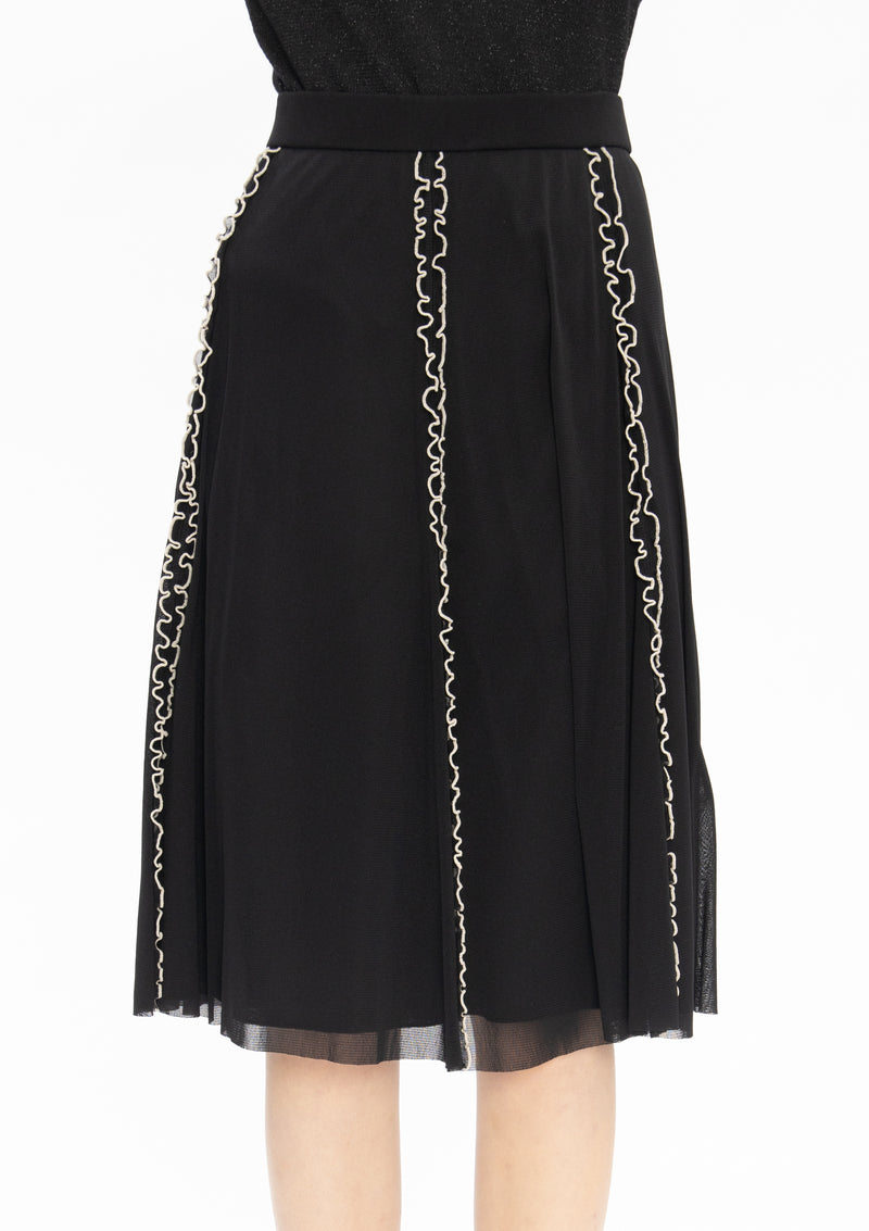BLACK BEIGE NETTING RUFFLE MERROW STITCHING SKIRT