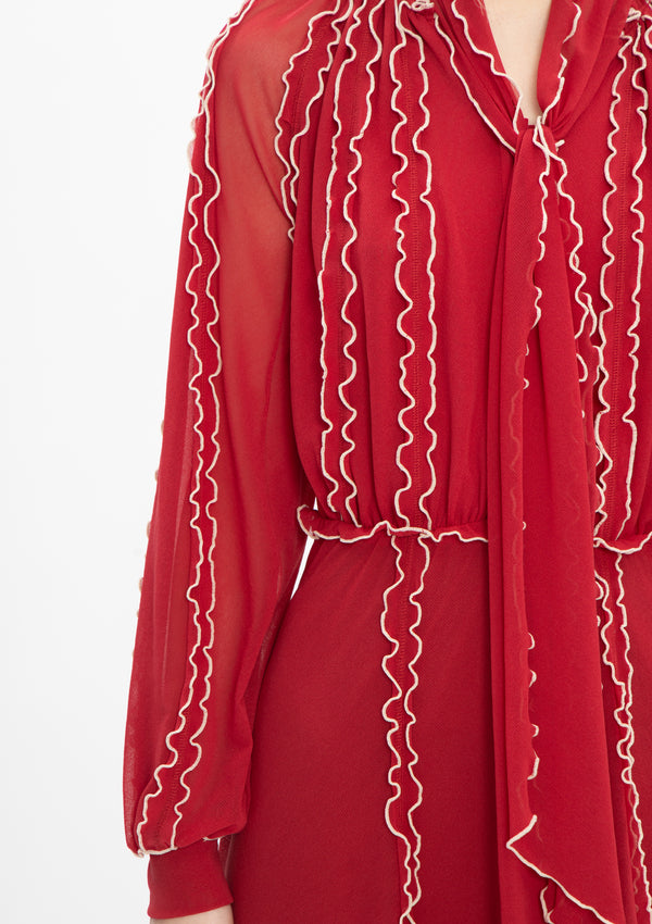 ** Selected Item ** RUFFLE NETTING MERROW STITCHING DRESS