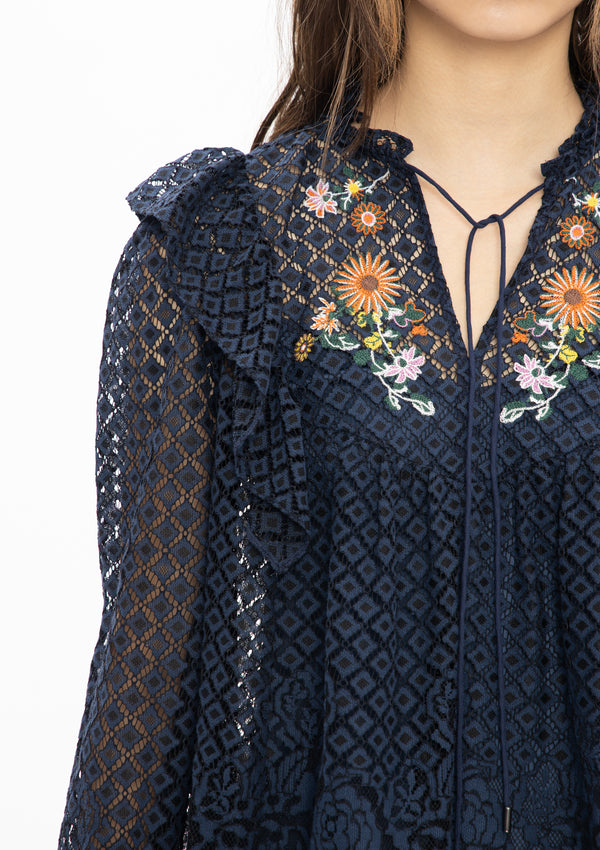 NAVY MINI SCHOLARS EMBROIDERY LACE NETTING RUFFLE BLOUSE