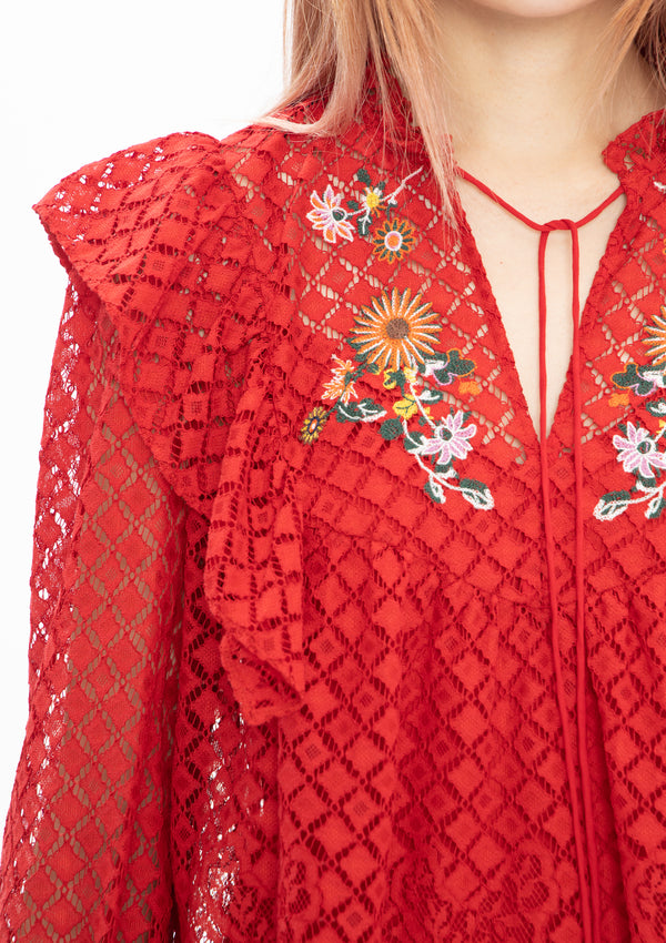 RED MINI SCHOLARS EMBROIDERY LACE NETTING RUFFLE BLOUSE
