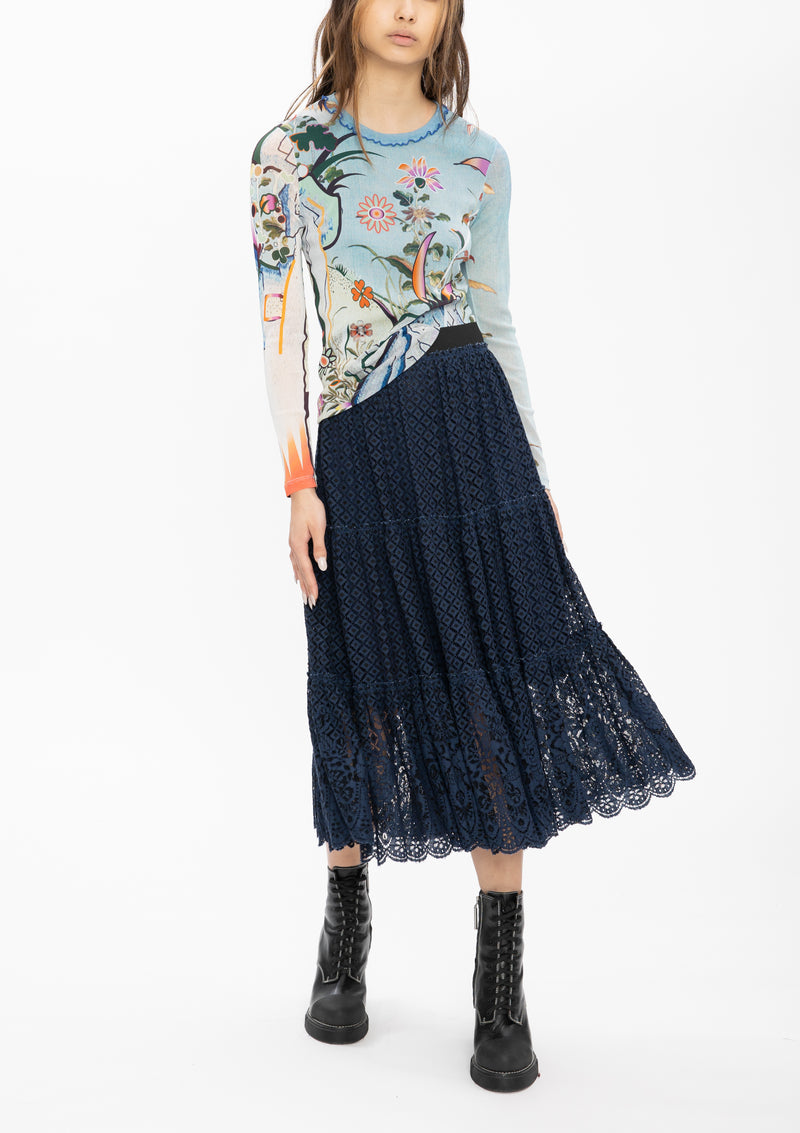 MINI SCHOLARS ROCK EMBROIDERY BADGES LACE SKIRT