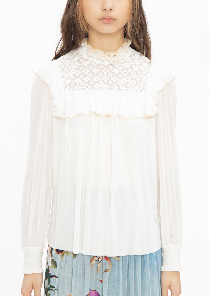 CREAM NUDE RUFFLE LACE STRETCH NETTING BLOUSE