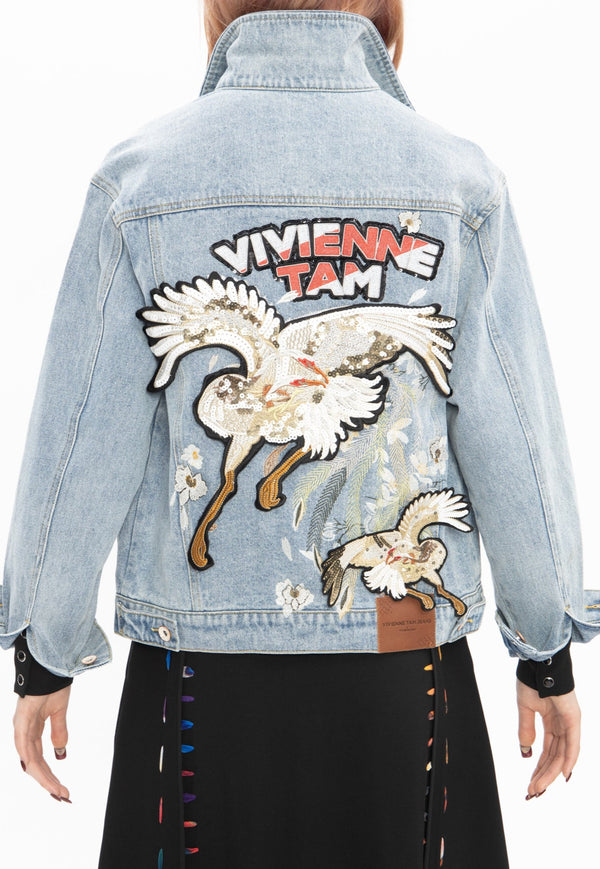 DOUBLE FLYING CRANE EMBROIDERY DENIM JACKET