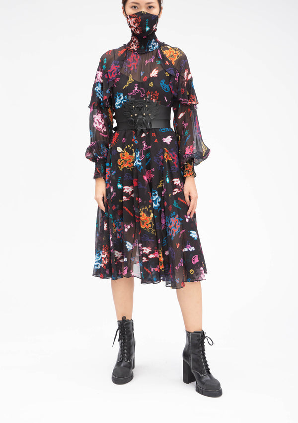 GRAFFITI DRAGON HIGH COLLAR RUFFLE SILK DRESS