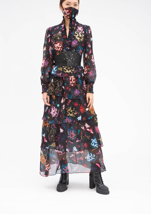 GRAFFITI DRAGON HIGH COLLAR BLACK RUFFLE SILK GOWN