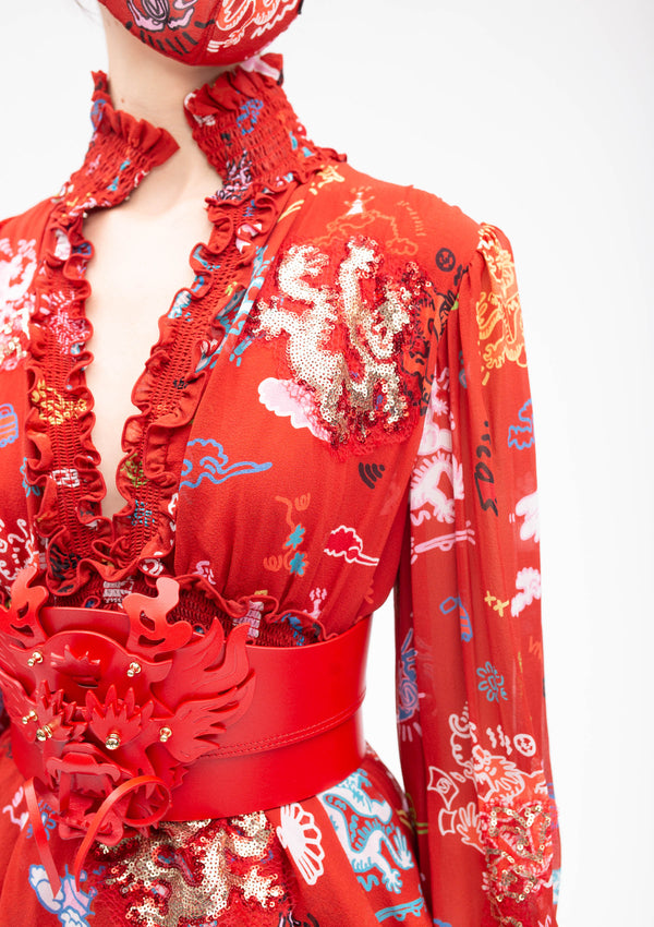 GRAFFITI DRAGON HIGH COLLAR RED RUFFLE SILK GOWN