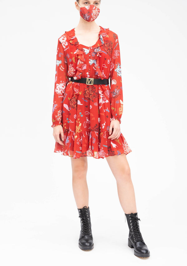 GRAFFITI DRAGON RUFFLE SILK DRESS