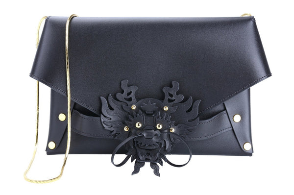 BLACK 3D DRAGON ENVELOPE BAG