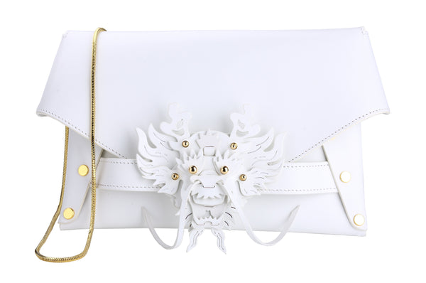 WHITE 3D DRAGON ENVELOPE BAG