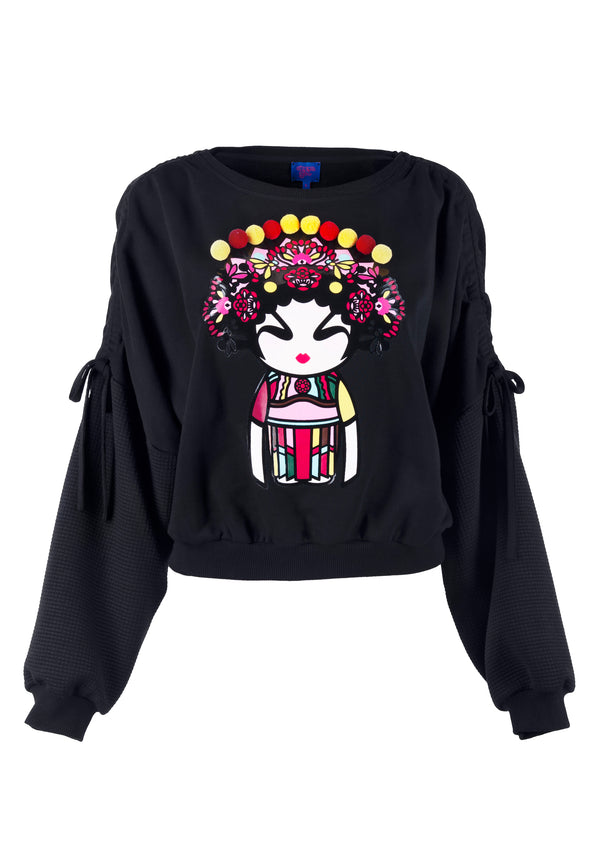 BLACK OPERA GIRL PRINT WITH POM POM SWEATSHIRT