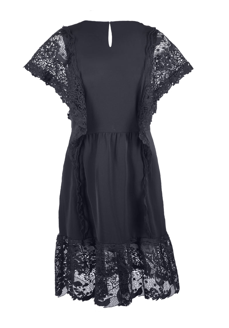SCROLLING GARDEN LACE MIDI DRESS