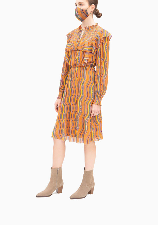 BROWN SMALL CEILING RUFFLE HIGH NECK DRESS