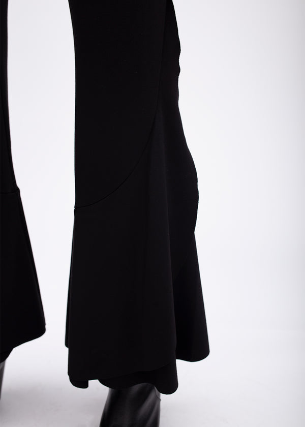 BLACK FLARE RUFFLE PANTS