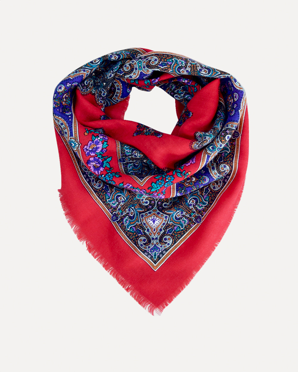 70's Red Paisley Scarf