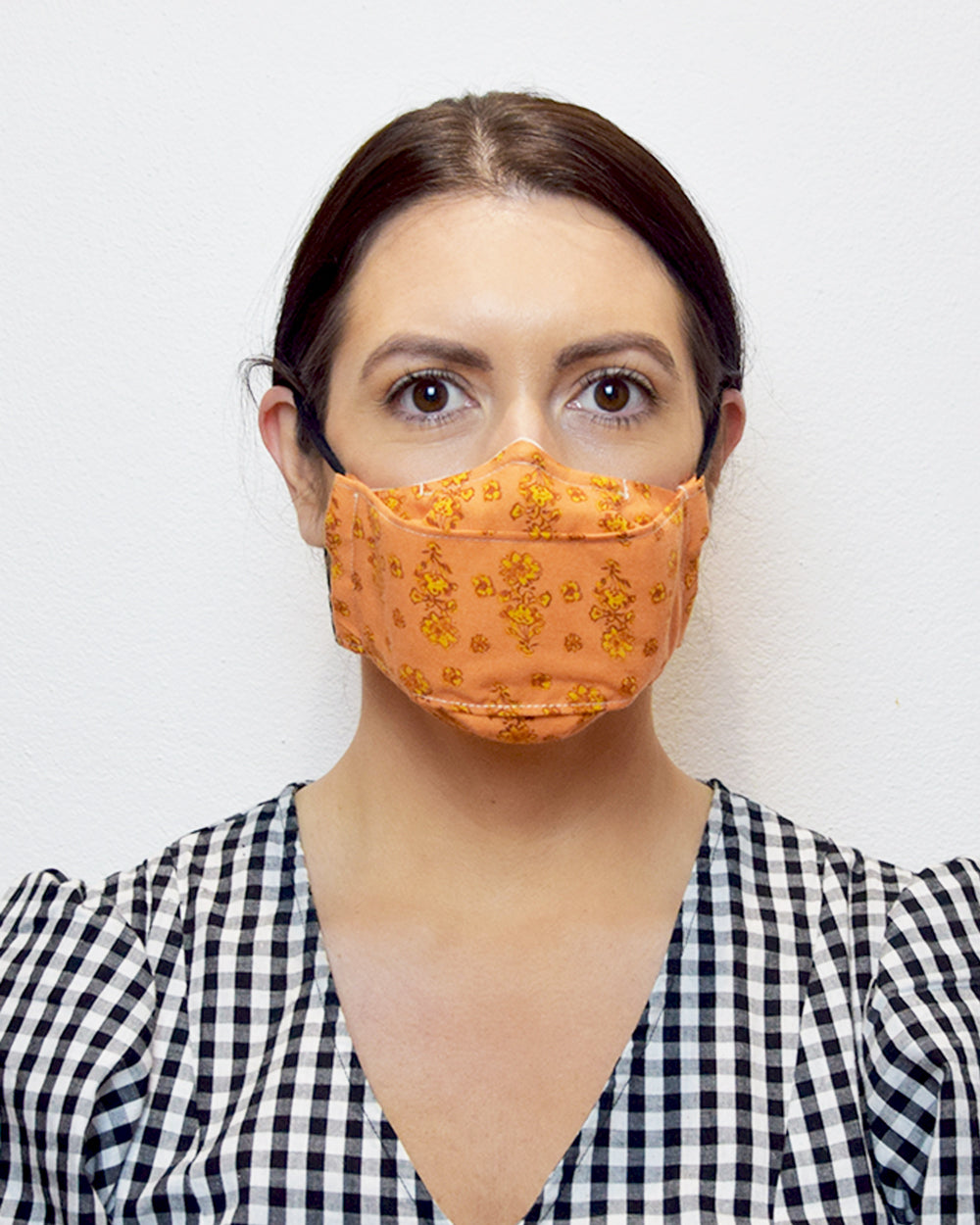 Orange Floral Face Mask