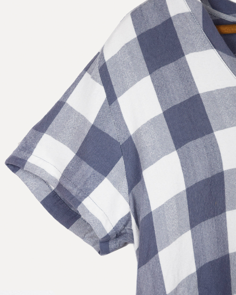 Cloth & Stone Check Tee | M