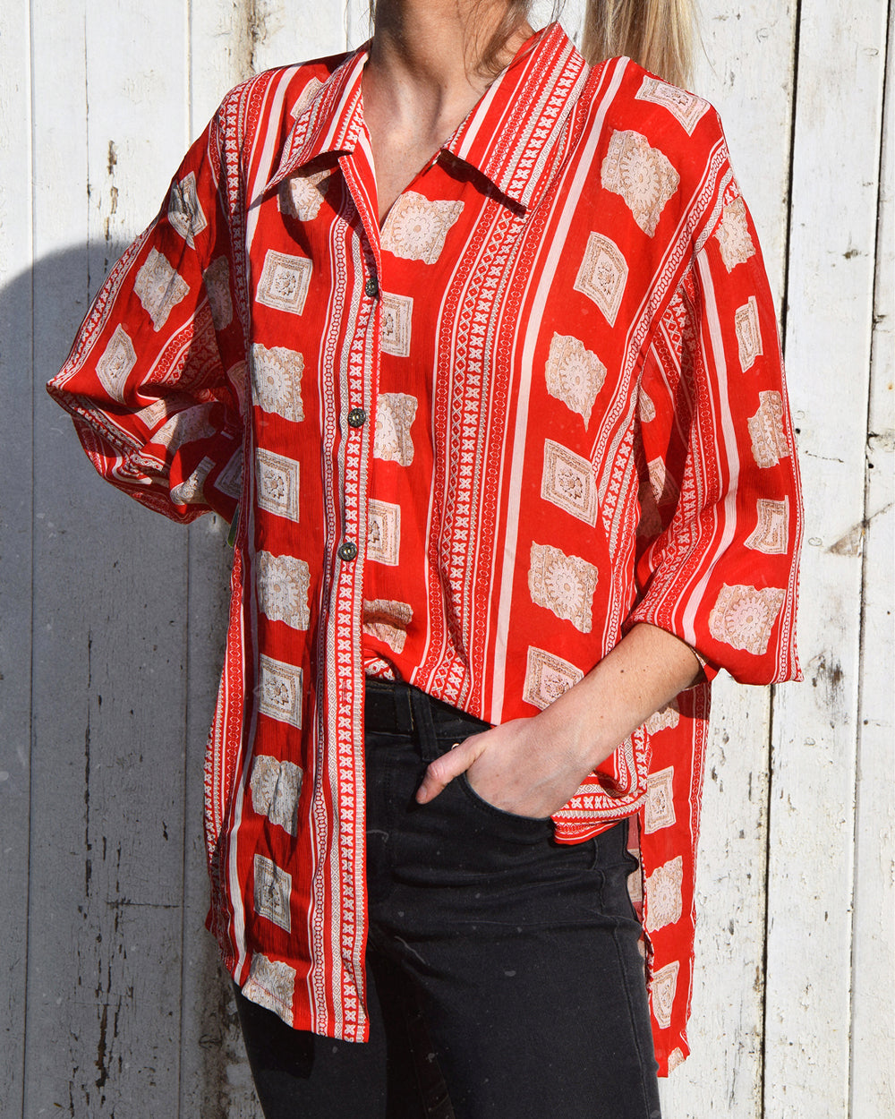 Vintage Oversized Red Shirt | 10-14