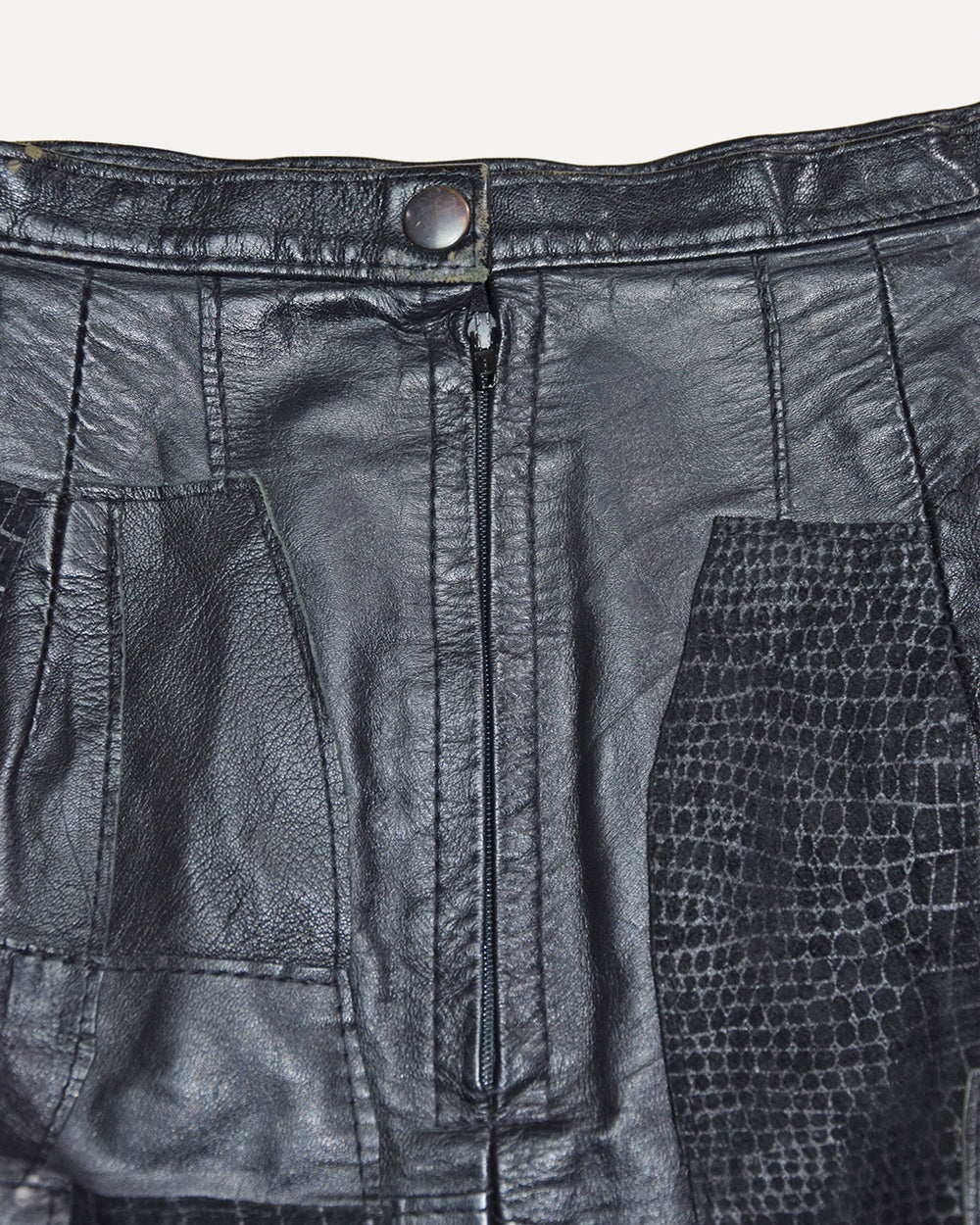Vintage Patchwork Leather Mini Skirt | XS