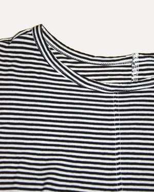 Cropped Navy Stripe Tee | S