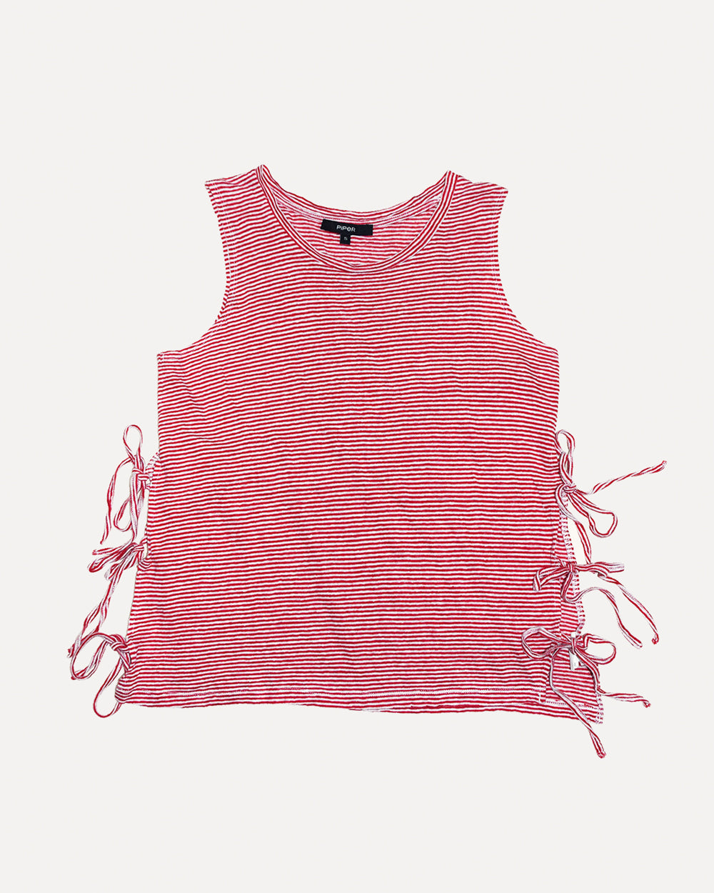 Tie Up Stripe Linen Singlet | S