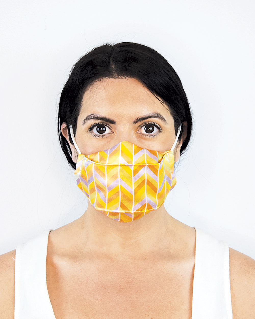 Pastel Chevron Silk Mask