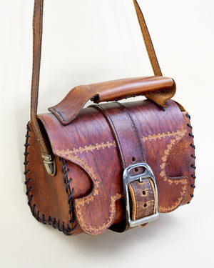 Vintage Tooled Satchel