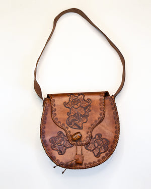 Vintage Chestnut Tooled Leather Handbag