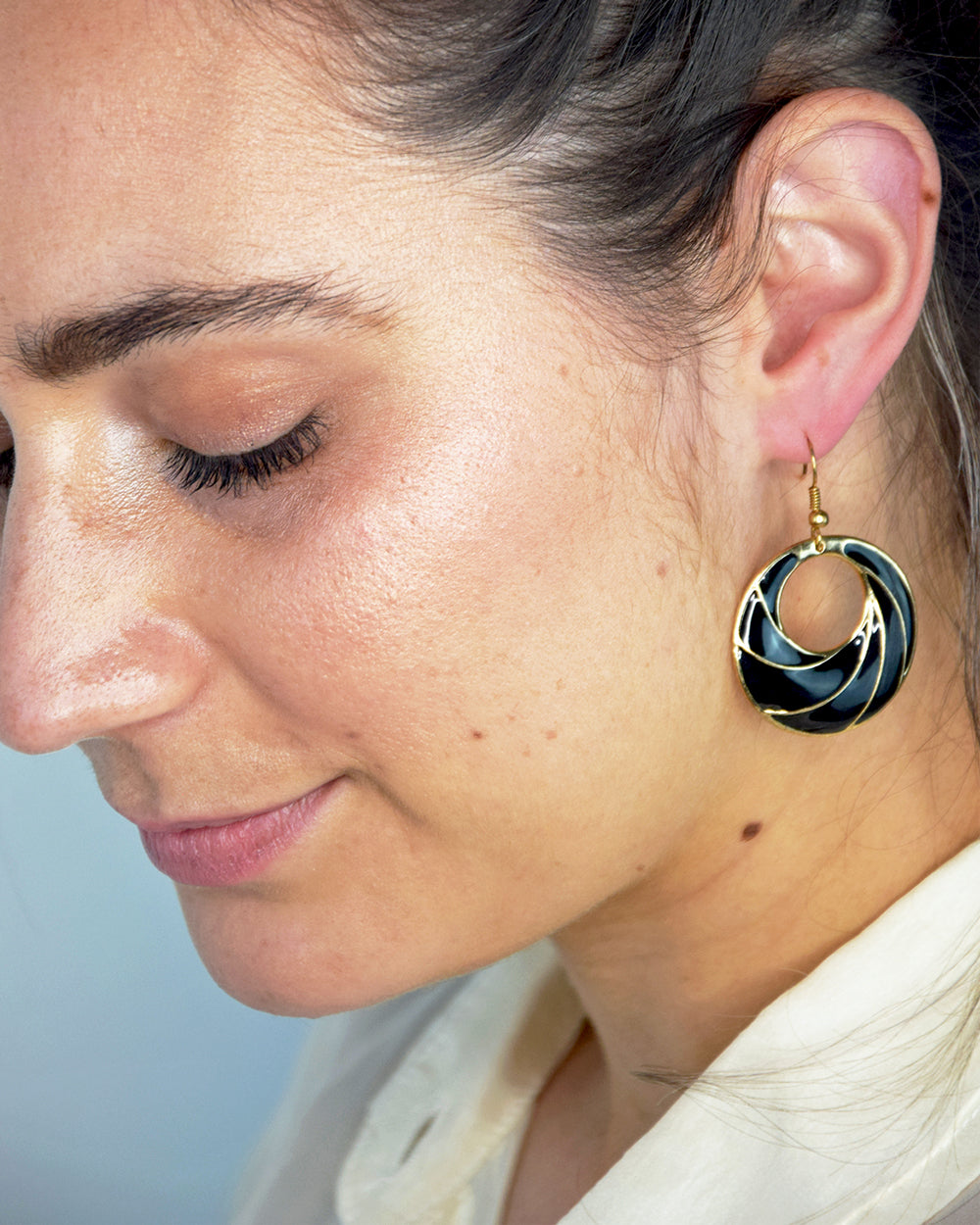 Black Delta Earrings