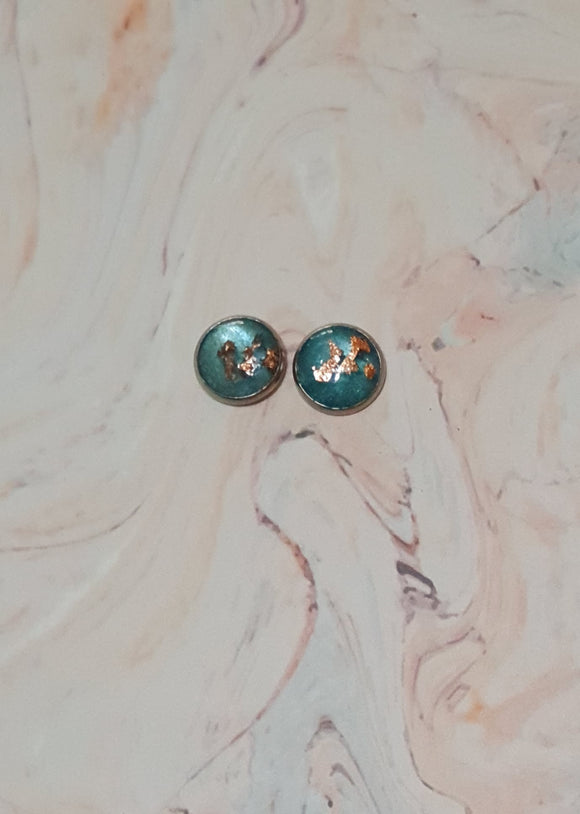 Statement Studs Rose Gold & Green