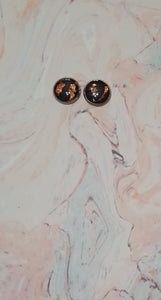 Statement Studs Rose Gold & Black