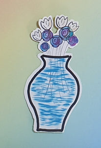 Individual Sticker Flowers In Vase