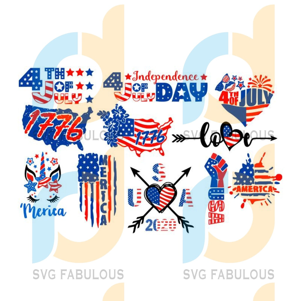 11 designs bundle 4th july, independence day, 4th of july svg, usa svg, usa flag, stars and stripes, patriotic, america, independence day