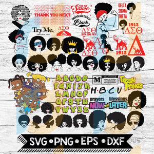 Afro Bundle Svg Black History Month Svg Png Eps Dxf
