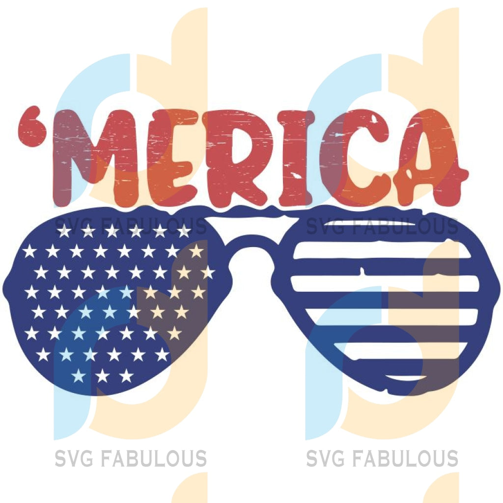America Svg Sunglassess Svg Flag 4Th Of July Cricut File