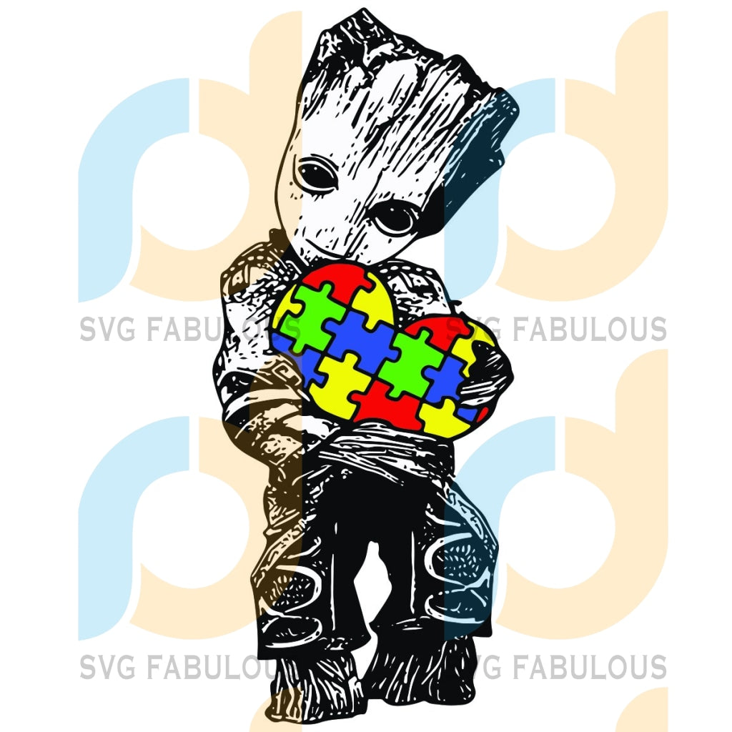 Baby Groot Autism Svg Kids Proud Of Awareness Love Hearts Svg Marvel Cricut