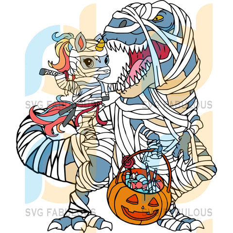Baby Unicorn And Trex Svg Halloween Dabbing Party Lover Baby Vector Dinosaurus Scary Gifts