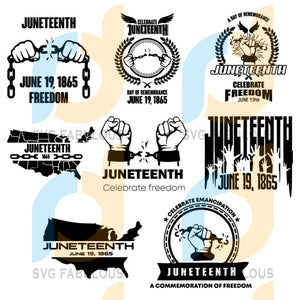 Bundle 8 Juneteenth Svg Files For Silhouette Cricut Dxf Eps Png Instant Download