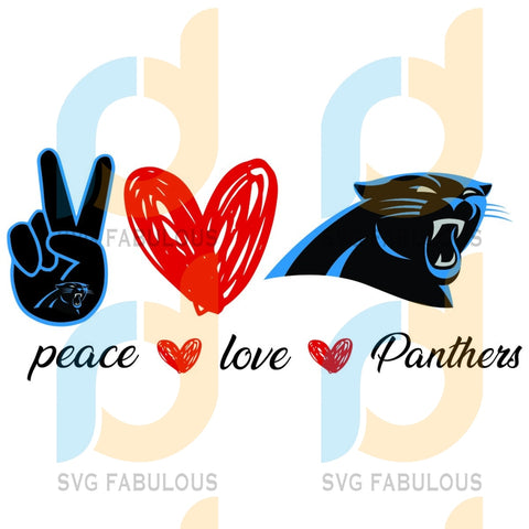 Carolina Panthers Peace Love Svg Sport Logo Nfl Team American Football