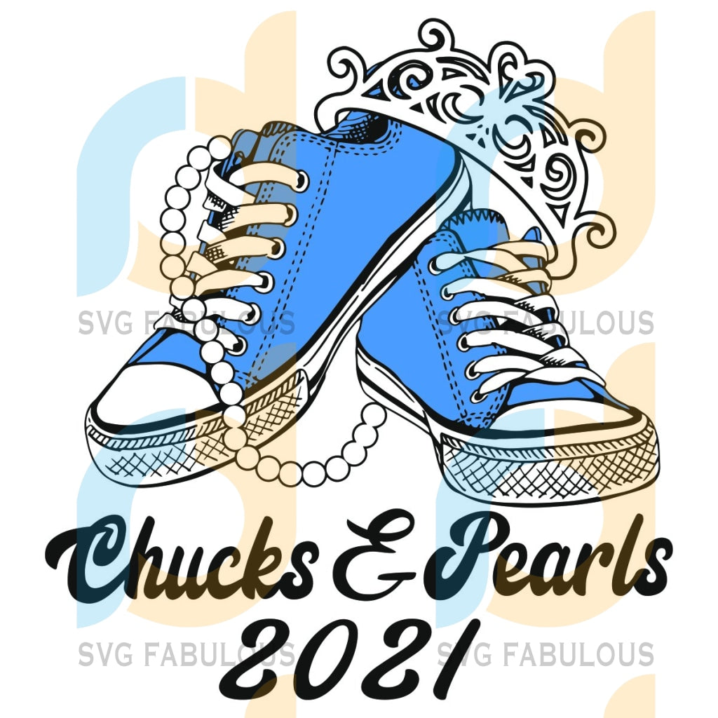 Chucks And Pearls 2021 Svg Trending Madam Vice President Svg Kamala Harris Supporter Sneaker