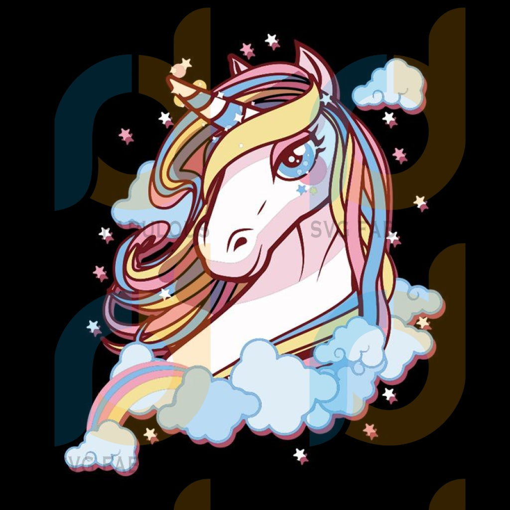 Cool Fresh Unicorn Svg Trending Dabbing Birthday Party Clipart Lover Horn Vector Head Cool Clouds