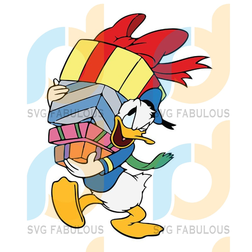 Disney donald bring present svg, merry xmas svg, christmas svg, christmas party, merry christmas svg, christmas saying svg, christmas clip art