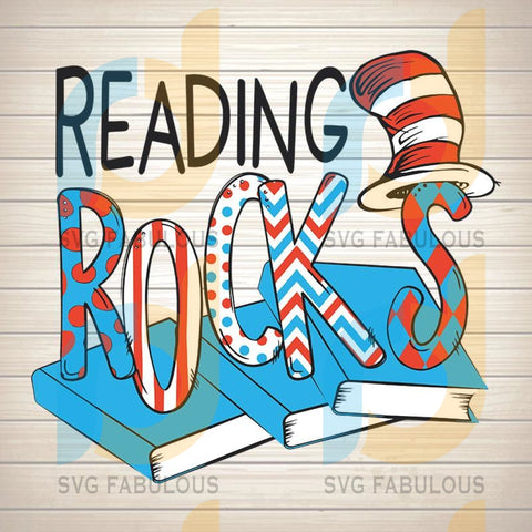 Dr. Seuss Reading Rocks Cat in the Hat svg, Theme Digital File