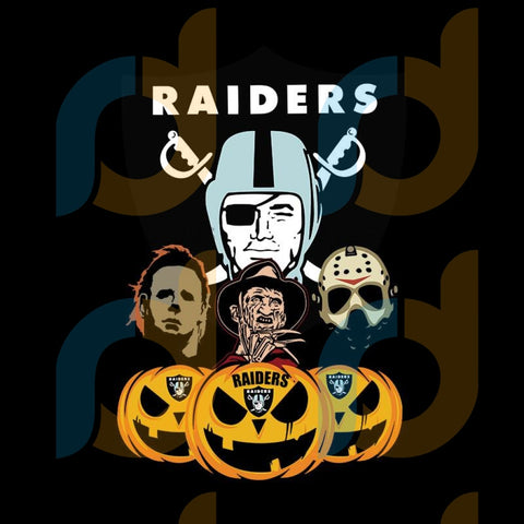 Halloween Horror Movie Pumpkin Svg, Jason Voorhees And Freddy Krueger Svg,Oakland Raiders