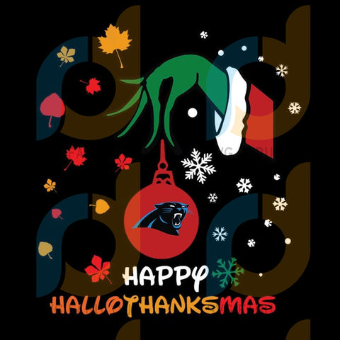 Happy Halloween Thanksgiving Christmas Grinch Carolina Panthers NFL Svg, Football Svg, Cricut File, Svg