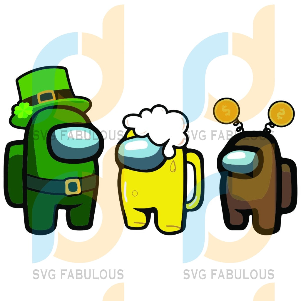 Happy Patrick Day Among Us Svg Impostors Crewmates Hats Beer Shamrocks Sus Gifts Party