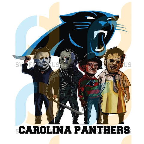 Horror Movie Team Carolina Panthers,NFL Png, Football Png, Cricut File