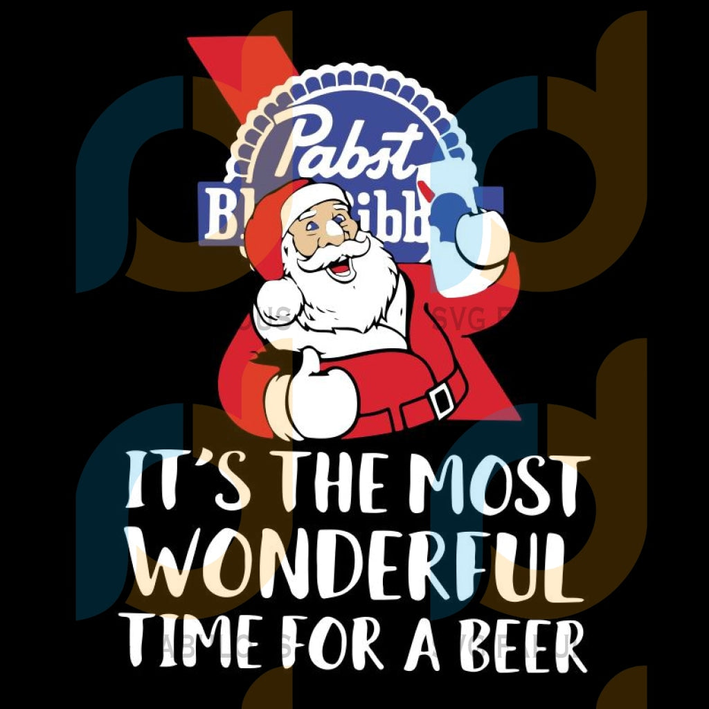 Hot Santa Claus Pabst Blue Ribbon It's The Most Wonderful Time For A Beer Christmas svg, merry xmas svg, christmas svg, christmas party, merry christmas svg, christmas saying svg, christmas clip art