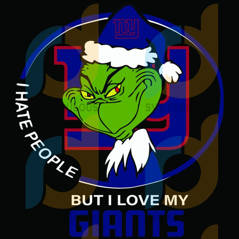 I Hate People But Love My New York Giants Svg Sport Grinch Logo Nfl Team American Football