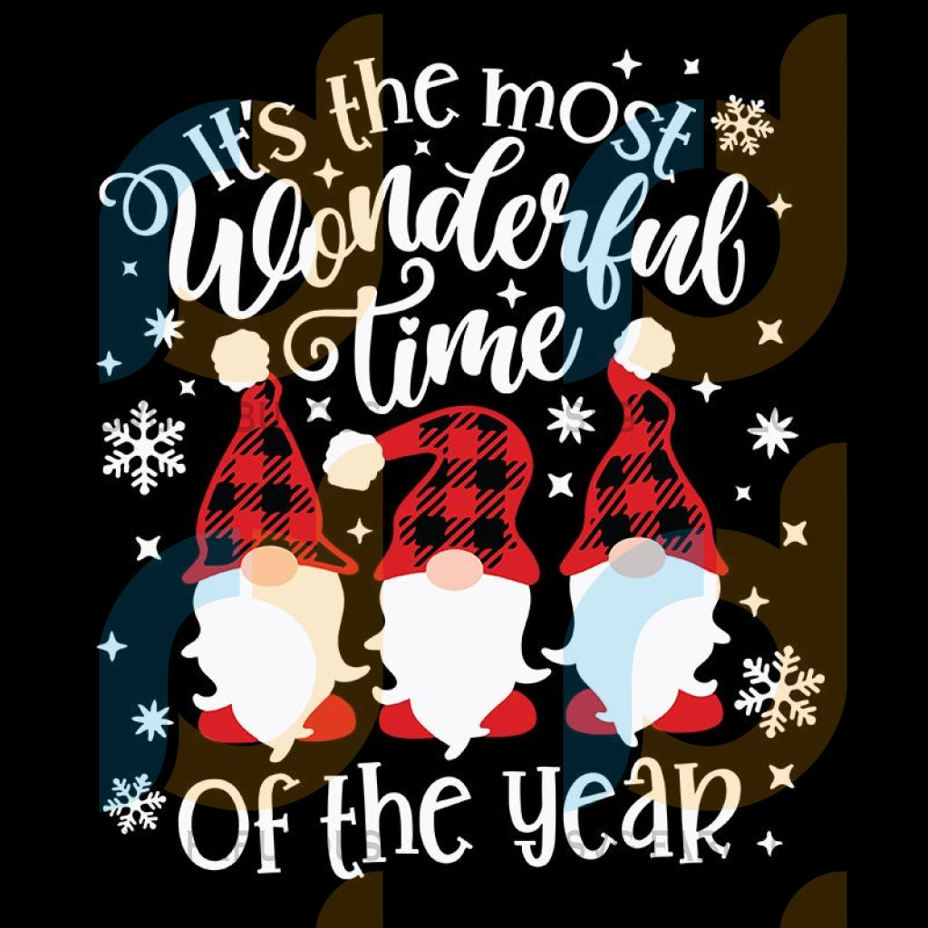 It's The Most Wonderful Time of The Year Svg, Plaid Pattern Hat Gnome Svg, Christmas Gnome Svg, merry xmas svg, christmas svg, christmas party, merry christmas svg