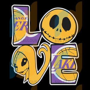 Jack Skellington and Sally love Los Angeles Lakers Svg, Cricut File, Svg